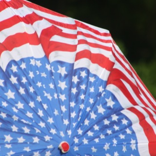 Red, White and Blue Umbrella. Pictured on Memorial Day, 2011. Photo by Alexandra Bogdanovic